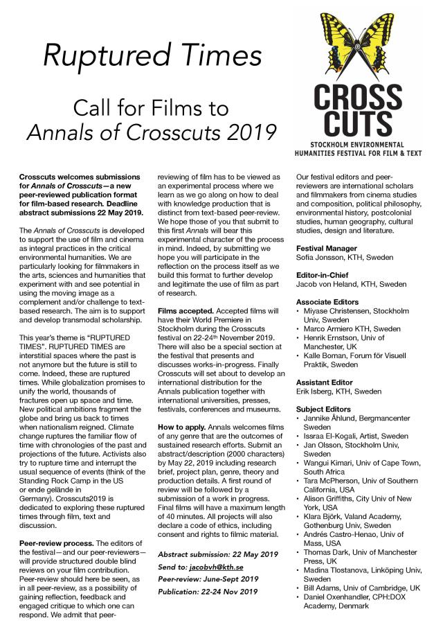 Annals of Crosscuts - call for abstracts 2019.
